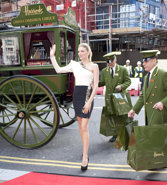 British model Lily Donaldson officially opened the Harrod's summer sale