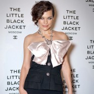 Milla Jovovich woos at Chanels Little Black book event in Moscow