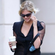Kate Upton takes her pet pooch Boots for a walk and sets pulses racing