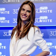 Alessandra Ambrosio shows off her pearly whites