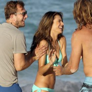 Alessandra Ambrosio cools off after grueling day