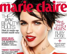 Ruby Rose smoulders on the cover of Marie Claire Australia's August issue