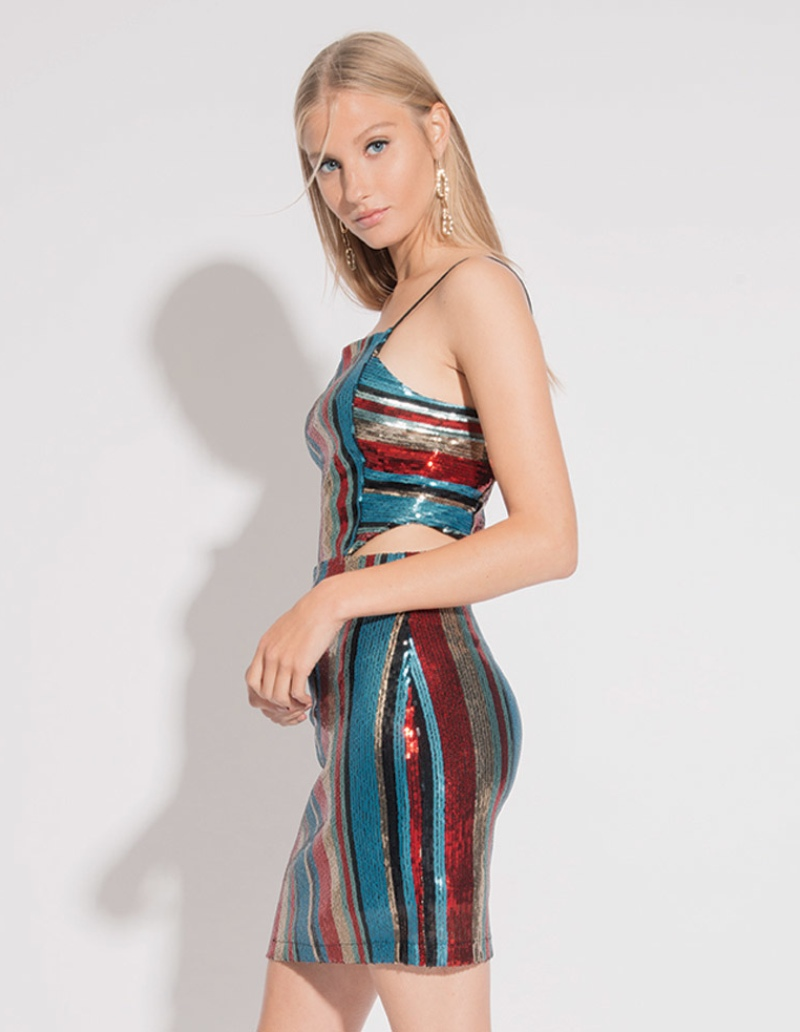 SEQUIN DRESS WITH CUT OUTS
