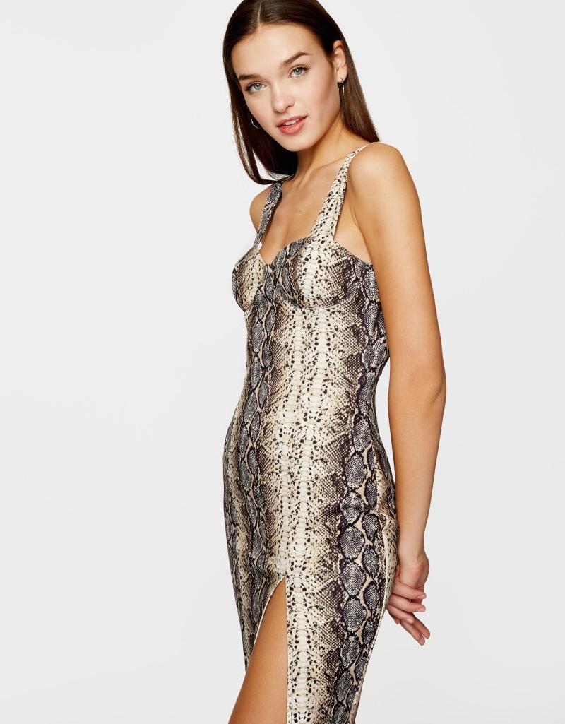 SNAKE PRINT DRESS WITH SIDE SLIT